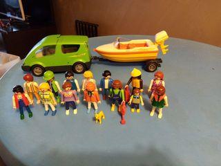 Lote coche+lancha+14 playmobil