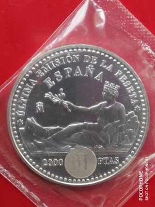 Moneda plata 2000 pesetas 2001 juan carlos sofía