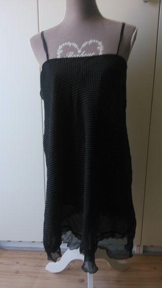 Vestido de gasa topos negro talla 42-44
