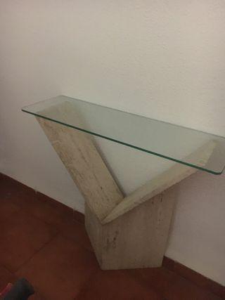 Entrada recibidor marmol y cristal