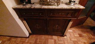 Mueble recibidor mármol y madera
