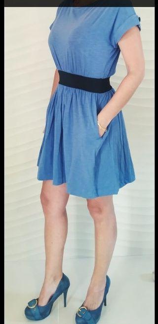 Vestido azul. Mango. Talla S