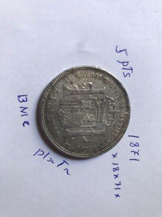 Moneda española de Amadeo I plata