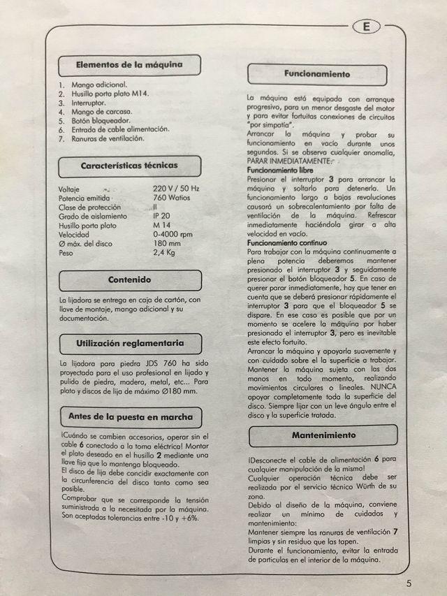 LIJADORA para Piedra/Madera/Metal WÜRTH JDS-760