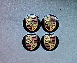 Pegatinas centro de ruedas Porsche negro 56mm
