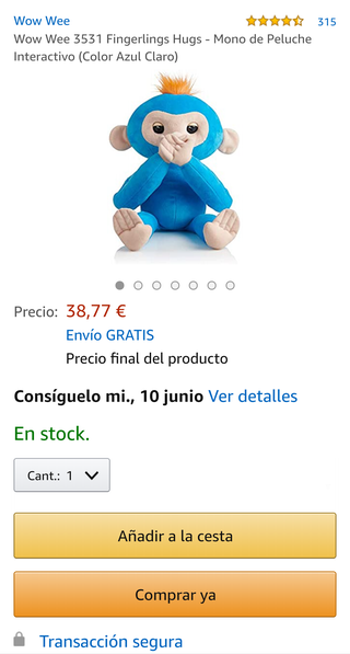 Fingerlings Hugs Mono de Peluche Interactivo. Colo