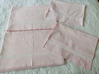Sábanas rosas antiguas algodón. Individual.