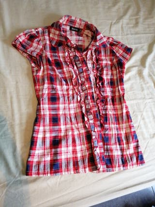 camisa manga corta cuadros talla 34