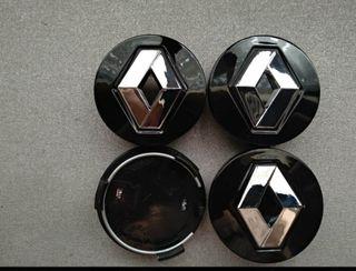 4 Tapabujes centro de ruedas Renault negro 54mm