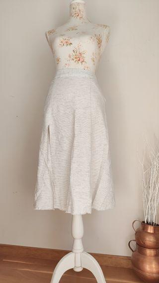 Falda MIDI de Zara de lino