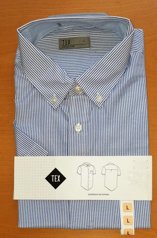 Camisa Manga Corta con Rayas Azules