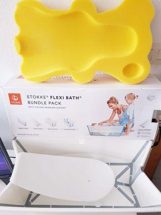 Bañera plegable stokke con reductor y esponja.