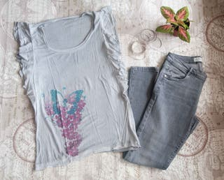Pantalones Zara + Camiseta + Regalo - Talla M