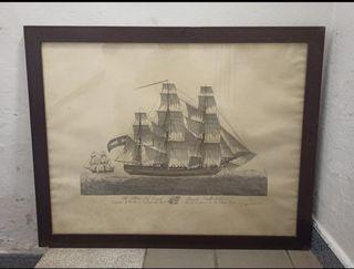 cuadro de la Marina Real con cristal