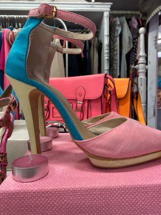 Tacones pink/celeste/beige
