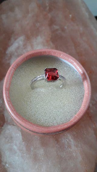 anillo plata y circonitas