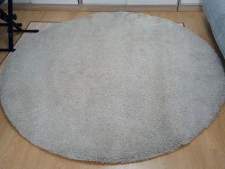alfombra redonda pelo beige