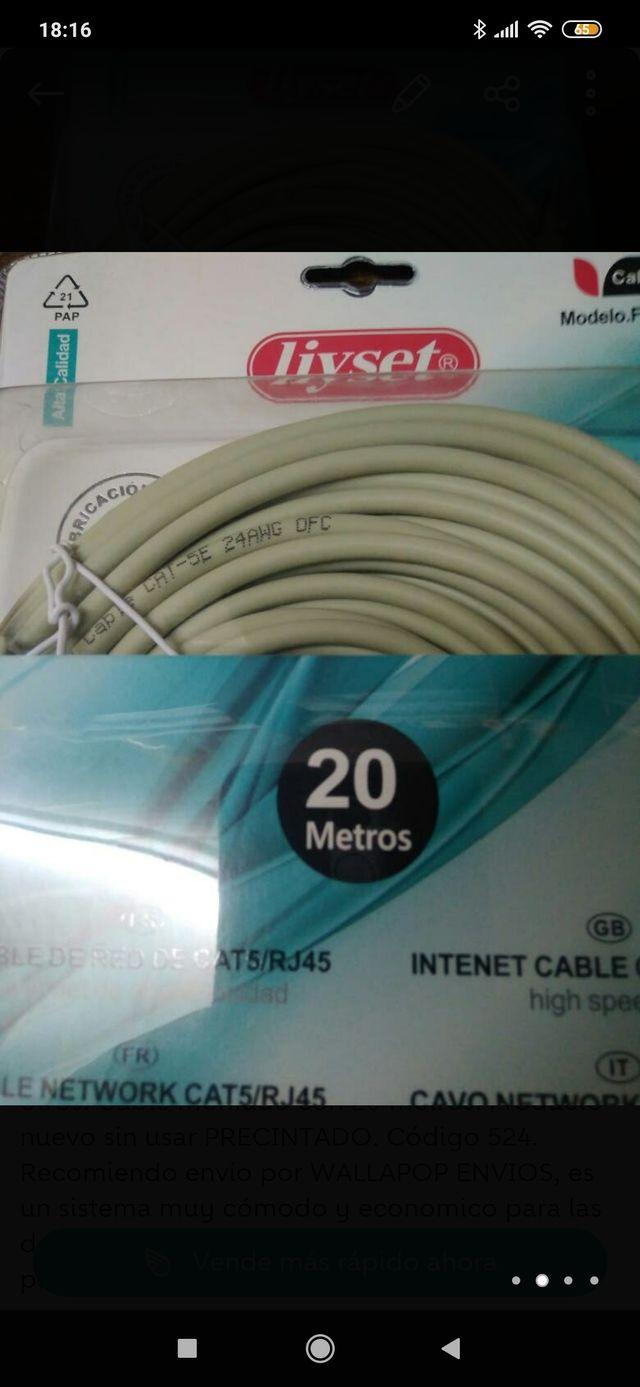 Cable Redes Ethernet 20m con RJ45 CAT5 UTP. PRECIO