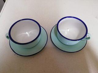 2 tazas y dos platos porcelana china BUMPER HARVES