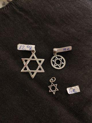 Amuleto estrella de David 3 tamaños plata de ley