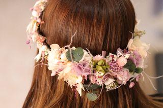 Tiara de flores preservadas
