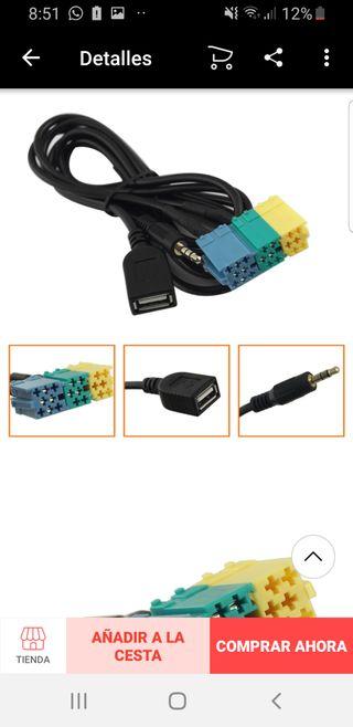 Cable auxiliar usb teléfono mp3 radio