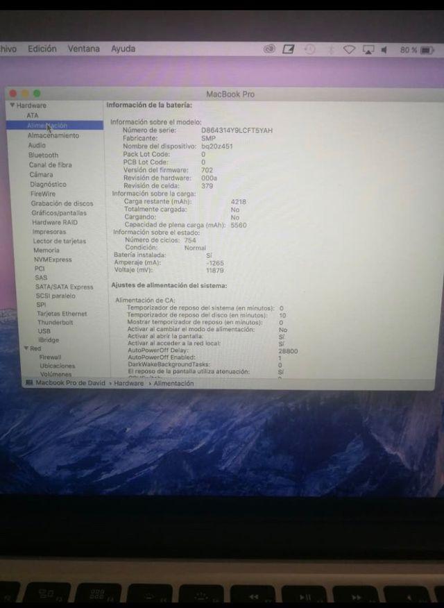 MacBook 13 pro pantalla retina (late 2014)