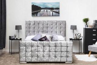 cubed velvet bed