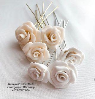 Pack de 3 horquilla con 3 flores de porcelana