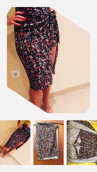 Falda pantalon flores de zara