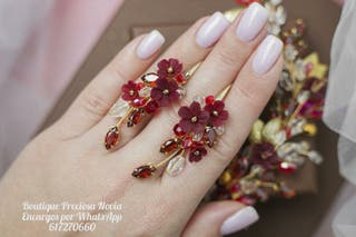 Flores de porcelana Pendientes de novia en rojo