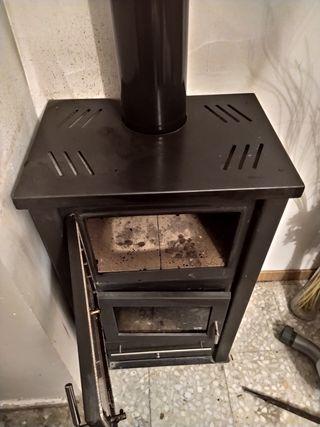Estufa de leña hierro fundido con horno