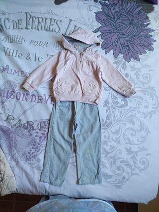 lote pantalón pana y sudadera niña 3 años