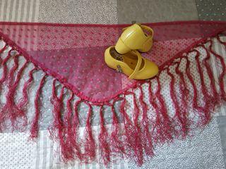 Tacón de flamenca y mantón.