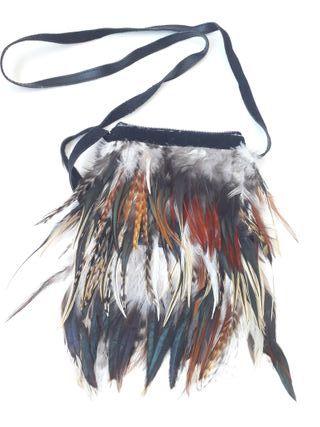 Bolso bandolera plumas autenticas hecho a mano