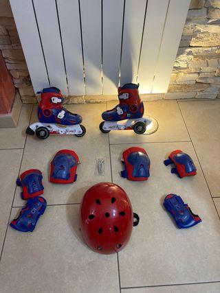 Patines niño o niña, casco y protecciones