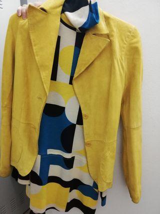 Chaqueta ante amarillo/vestido Zara vintage
