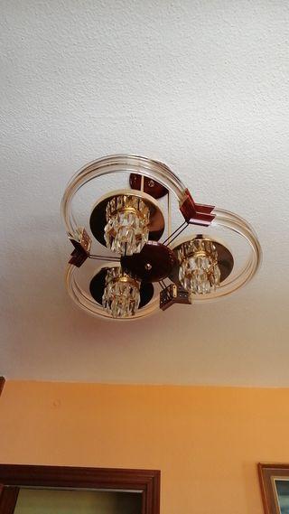 Lámpara halógen techo salón làgrimas efecto madera