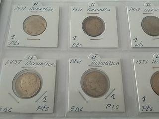 Lote seis monedas República 1937