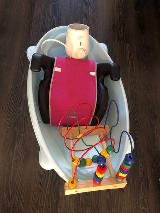 Bañera, calienta biberones, alzadle, juguete
