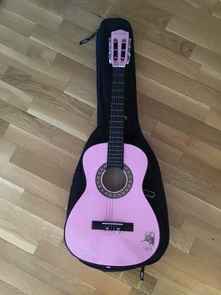 Guitarra clásica pequeña rosa y funda