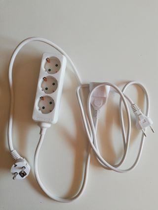 Regleta 3 enchufes + cable alargador