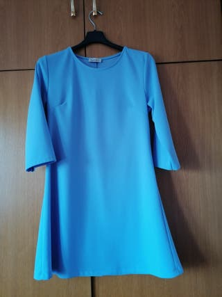 vestido evasé manga larga azul