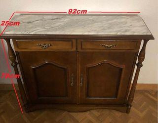 Mueble recibidor madera maciza y mármol