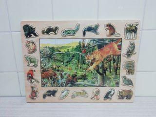 Puzzle de madera y encaje