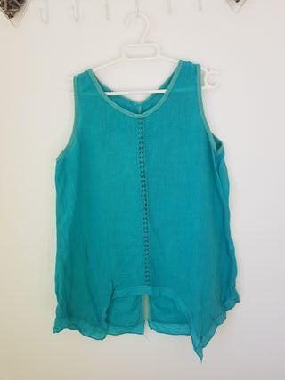 Blusa de lino turquesa talla M