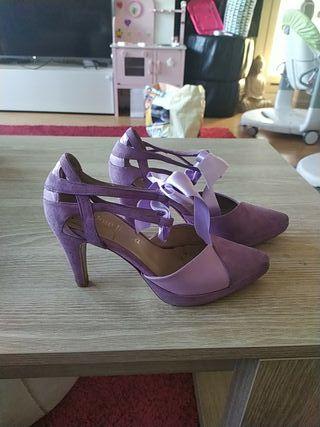 Zapatos novia malva. 100%piel