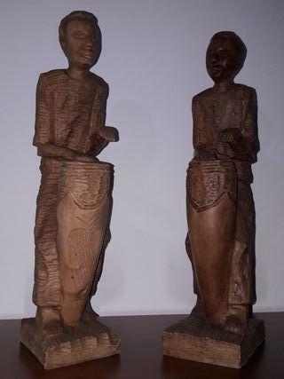 pareja de figuras africanas de madera