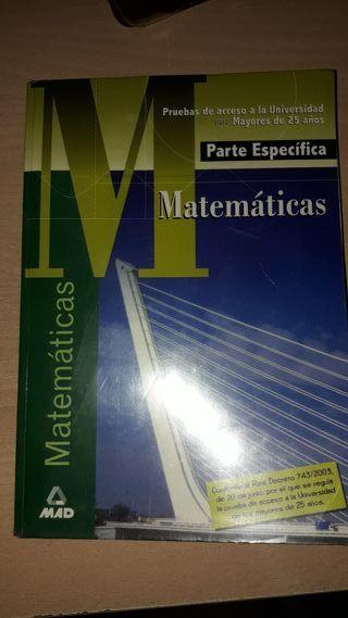 Libro Matemáticas Prueba universidad + 25 años