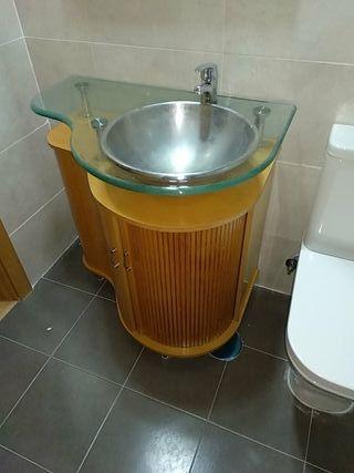 conjunto de baño con grifo y espejo medida 80x55